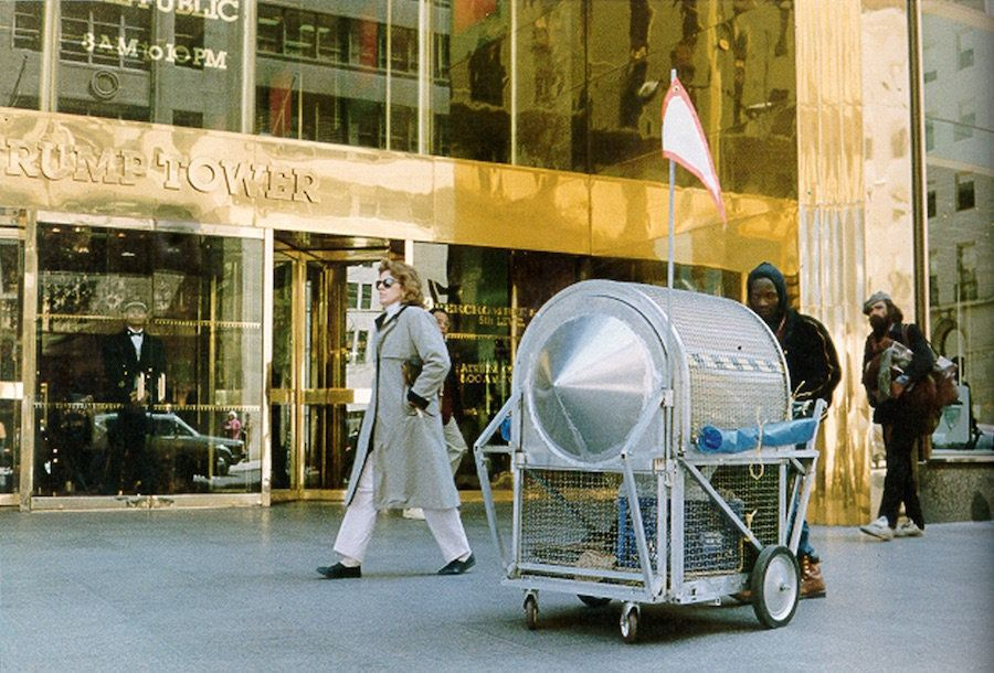 """Krzysztof Wodiczko, """"Homeless Vehicle,"""" 1988. Pictured: Variant 3 at Trump Tower, New York."""