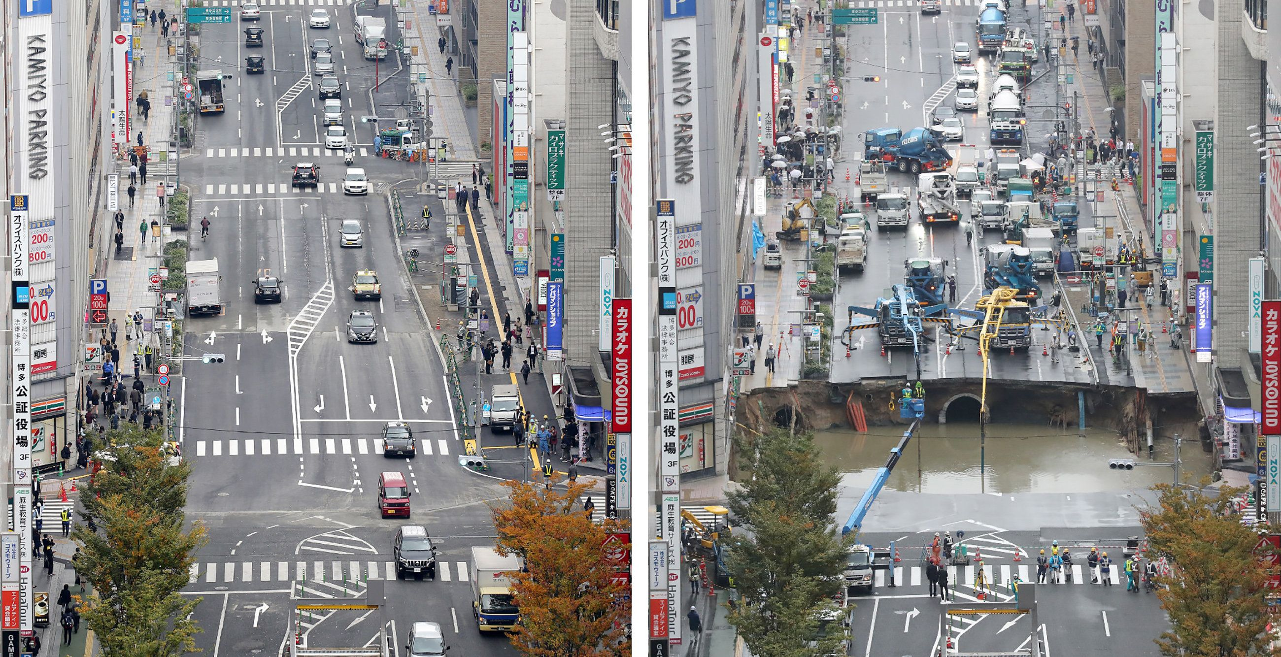 This combo shows a photo of a giant sinkhole (R), measuring around 30 metres (98 feet) wide and 15 metres deep, which appeared in a five-lane street in the middle of the Japanese city of Fukuoka on November 8, 2016 and another photo (L) of the same section of road after repairs were made on November 15.   The Japanese city on November 15 reopened the busy street that collapsed into a giant sinkhole, with efforts of crews who worked round the clock for a week drawing raves on social media. / AFP / JIJI PRESS / JIJI PRESS / Japan OUT        (Photo credit should read JIJI PRESS/AFP/Getty Images)