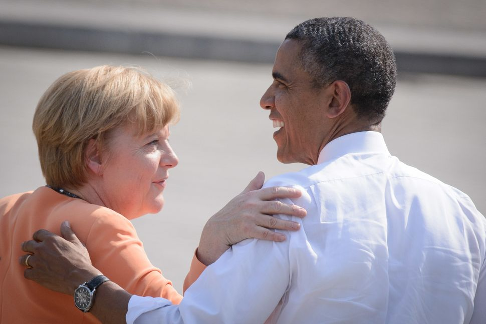 Obama and Merkel on the Pariser Platz in front of the Brandenburg Gate on June 19, 2013, in Berlin, Germany.