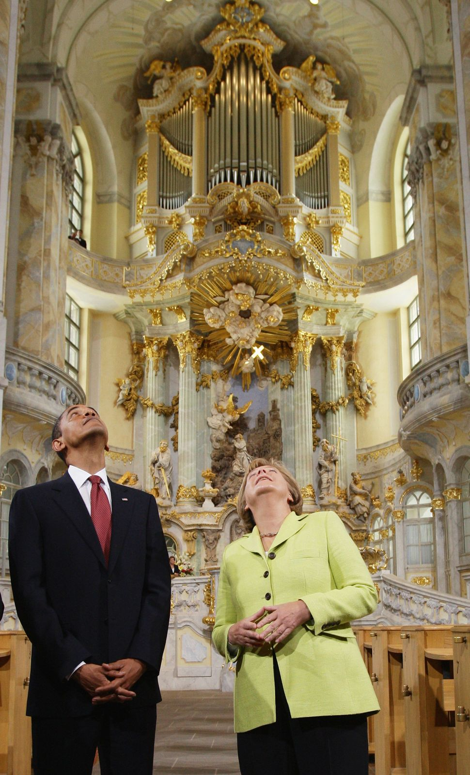 Obama and Merkel tour Dresden's landmark, the Frauenkirche (Church of Our Lady) on June 5, 2009, in Dresden, Germany.