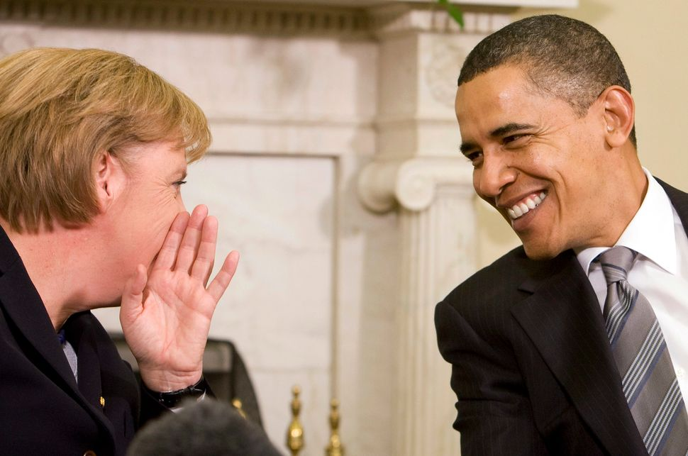 Obama meets with Merkel in the Oval Office on Nov. 3, 2009.