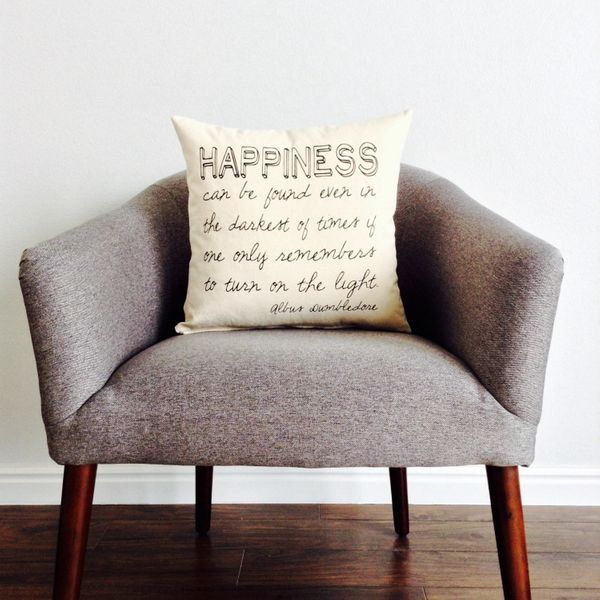 "Harry Potter Quote Pillow, $18, <a href=""https://www.etsy.com/listing/203931488/harry-potter-happiness-can-be-found?ga_order="