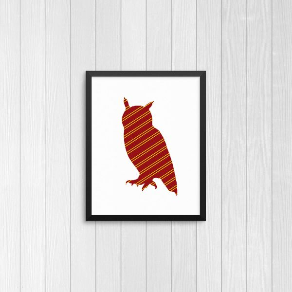 "Gryffindor Patterned Owl Silhouette Print, $5, <a href=""https://www.etsy.com/listing/253374749/harry-potter-gryffindor-patter"