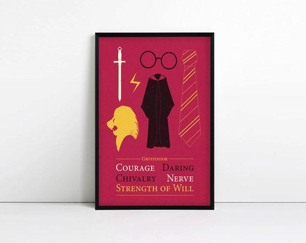 "Gryffindor Poster, $8.29, <a href=""https://www.etsy.com/listing/193585481/gryffindor-minimalist-poster-harry?ga_order=most_re"