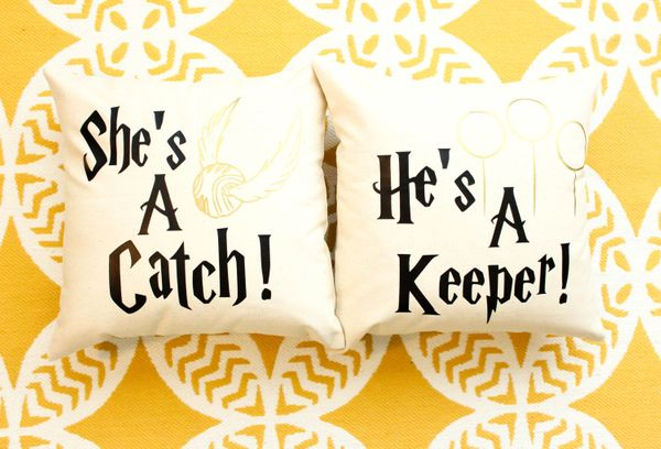 "Catch &amp; Keeper Pillows, $35, <a href=""https://www.etsy.com/listing/229100477/harry-potter-shes-a-catch-hes-a-keeper?ga_or"