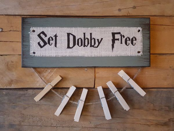 "Set Dobby Free Sign &amp; Clothespins, $17.95, <a href=""https://www.etsy.com/listing/226811864/set-dobby-free-burlap-and-wood"