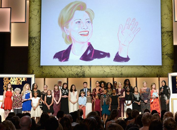 """A """"thank you"""" tribute to Hillary Clinton during the Glamour Women Of The Year Awards in Hollywood on Nov. 14."""