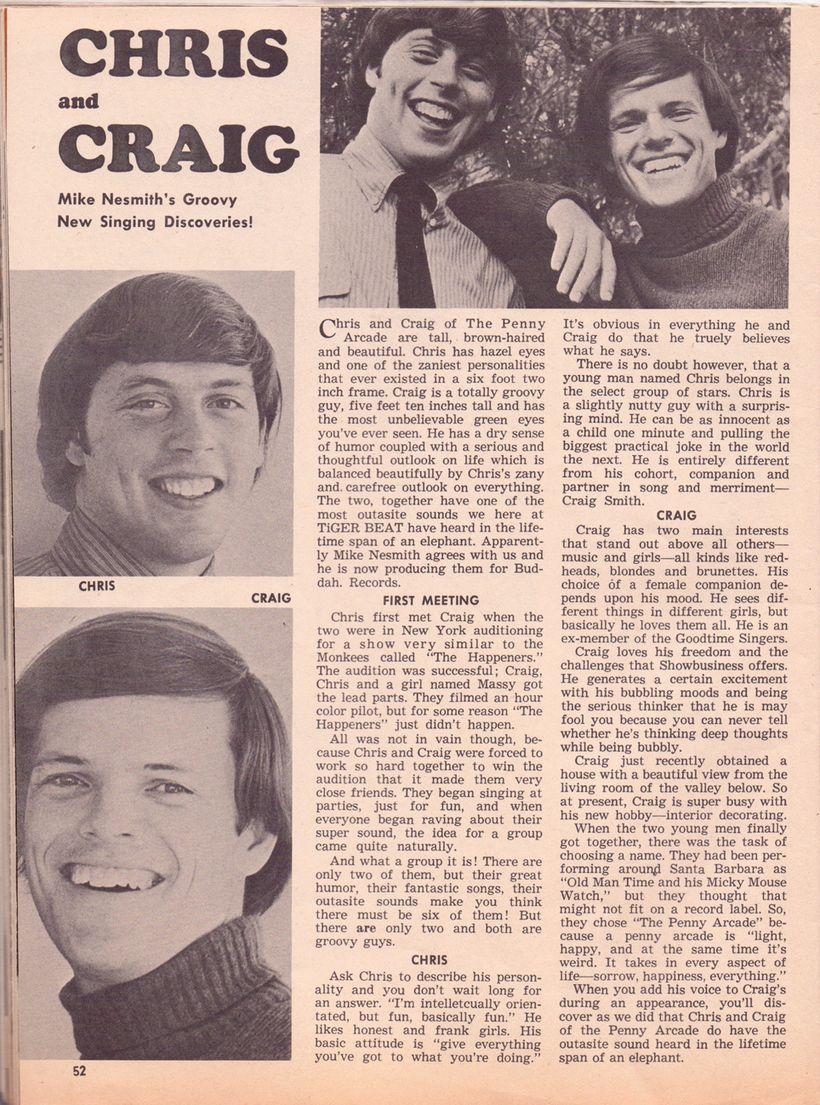 Chris Ducey and Craig Smith <em>Tiger Beat</em> 1967