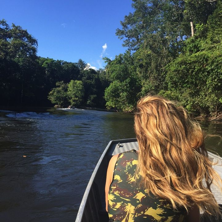 MATO GRASSO, BRAZIL - Traveling by boat on the Cristalino River within the Cristalino Private National Heritage Reserve