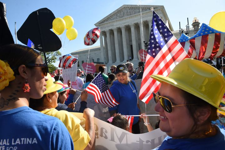 Immigration reform advocates protest at the Supreme Court in April 2016.