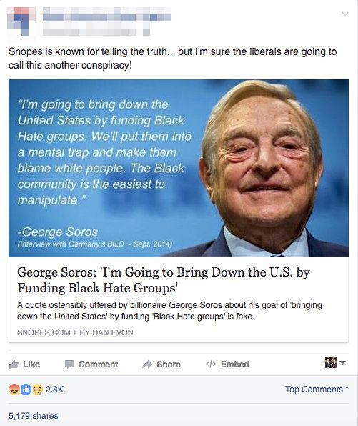 This Facebook post is actually a link to the very article that disproves it. Eagle-eyed readers willnotice the descript