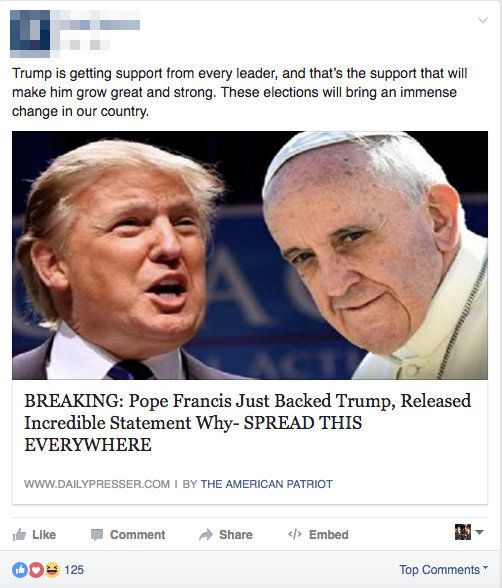 Image result for fake news on facebook examples