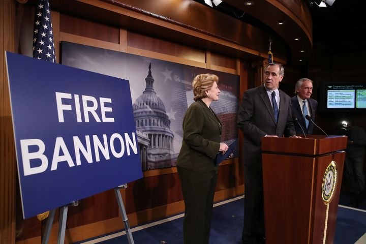 Sen. Jeff Merkley (D-Ore.) stands with Sen. Debbie Stabenow (D-Mich.), and Sen. Ed Markey (D-Mass.) Tuesday as he calls on Pr
