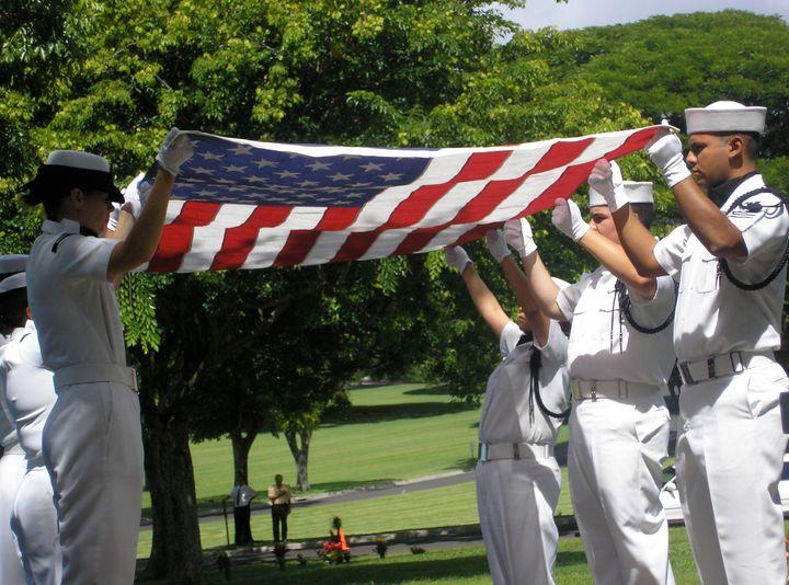 Honor guard at a U.S. Navy veteran's funeral.
