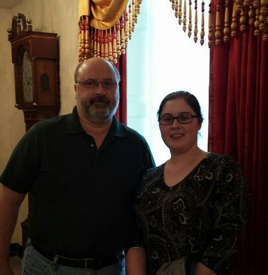 My dad and I during a recent tour of the White House, my red prednisone chipmunk cheeks and all!