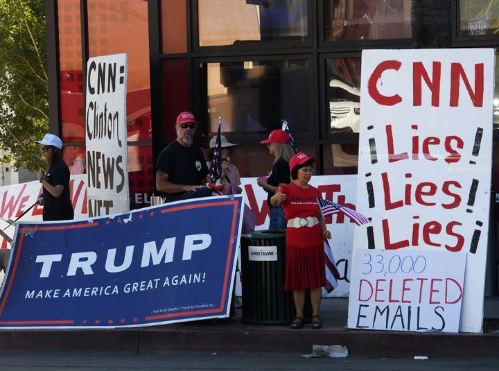 Trump supporters protesting CNN.