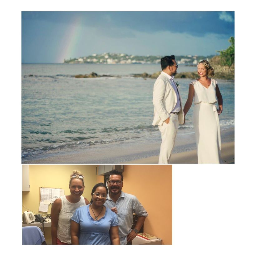 Top: Stephanie Hunt and John Lupinos, of San Francisco, California, were married under a rainbow in Puerto Rico on August 6,