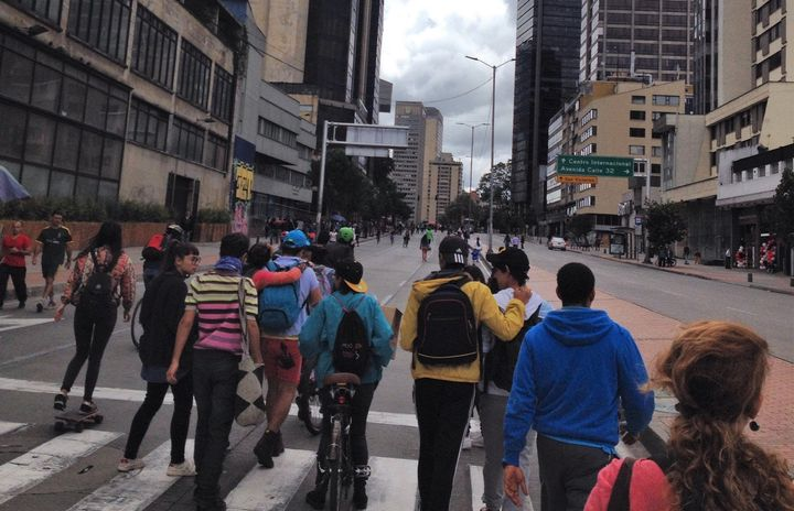Activists march for equity and peace in Bogotá.