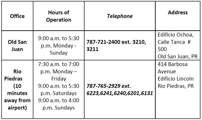 The Puerto Rico Demographic Offices in San Juan have longer hours, and the clerks are accustomed to assisting destination wed
