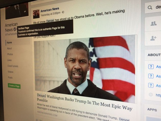 A fake news story about Denzel Washington was shared by a 'verified' Facebook page on