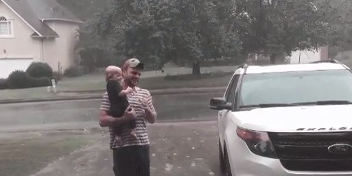 Baby Has The Cutest Reaction To Experiencing Rain For The First
