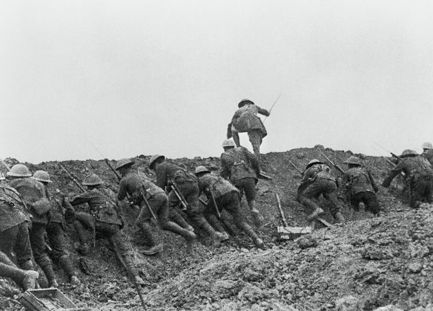 Troops scramble over the top during the Battle of the