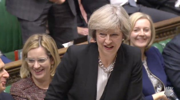 Theresa May couldn't resist delivering a gag at