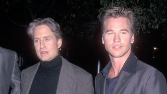 HOLLYWOOD - OCTOBER 3:   Actor Michael Douglas and actor Val Kilmer attend 'The Ghost & the Darkness' Hollywood Premiere on October 3, 1996 at Paramount Theatre, Paramount Pictures Studios in Hollywood, California. (Photo by Ron Galella, Ltd./WireImage)