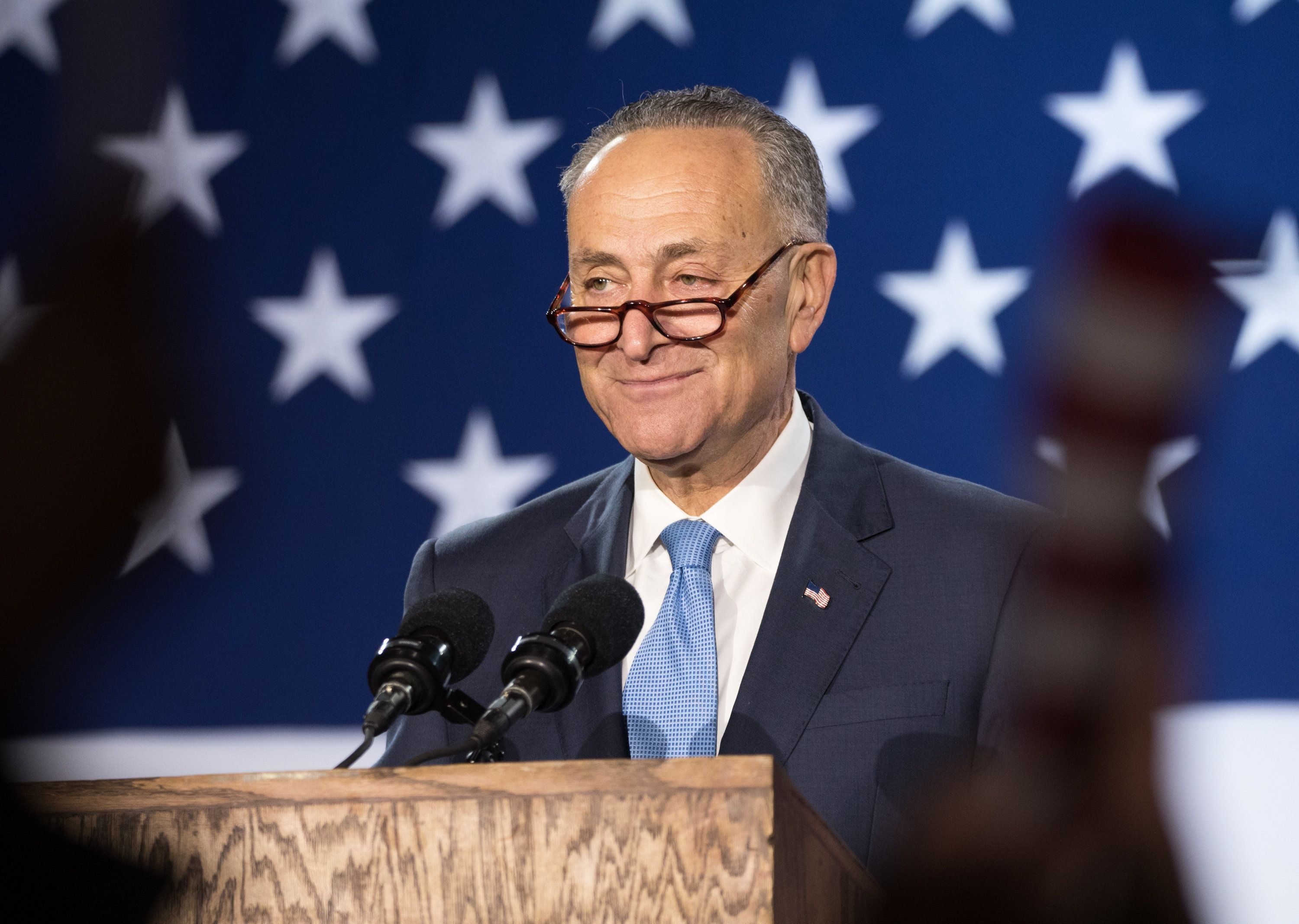 NEW YORK, NY - NOVEMBER 08:  United States Senator Chuck Schumer speaks at Democratic presidential nominee Hillary Clinton's election night event at Javits Center on November 8, 2016 in New York City.  (Photo by Noam Galai/FilmMagic)
