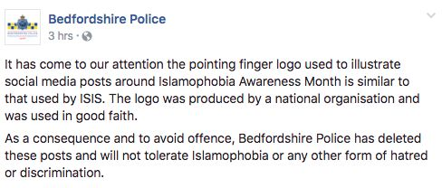 Bedfordshire Police removed the posts in order to 'avoid