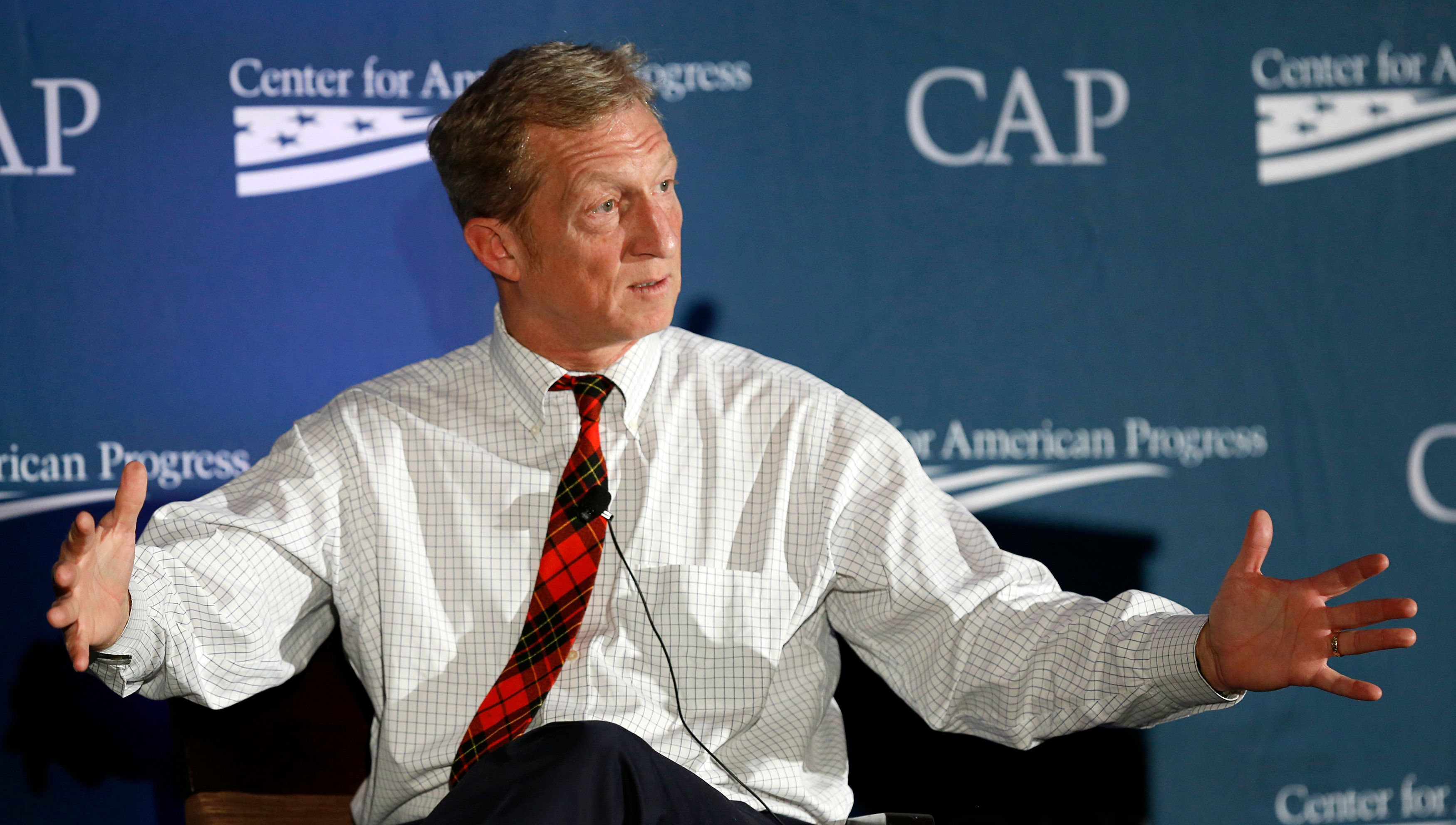 Investor, philanthropist and environmentalist Tom Steyer speaks at the Center for American Progress' 2014 Making Progress Policy Conference in Washington November 19, 2014. REUTERS/Gary Cameron  (UNITED STATES - Tags: POLITICS)