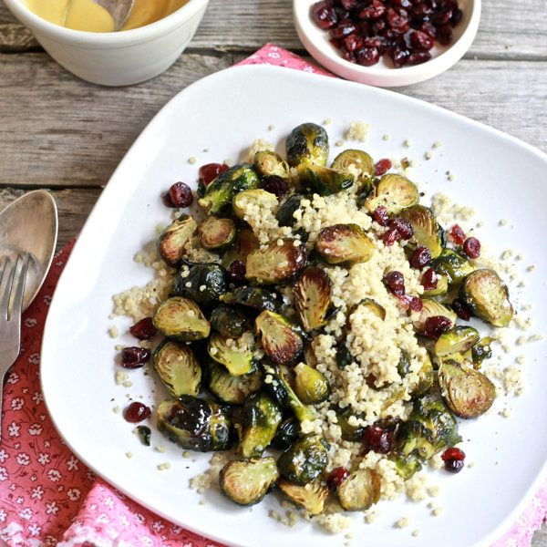 """<strong>Get the <a href=""""http://www.theclevercarrot.com/2012/10/roasted-brussels-sprouts-with-quinoa-cranberries-miso/"""" targe"""