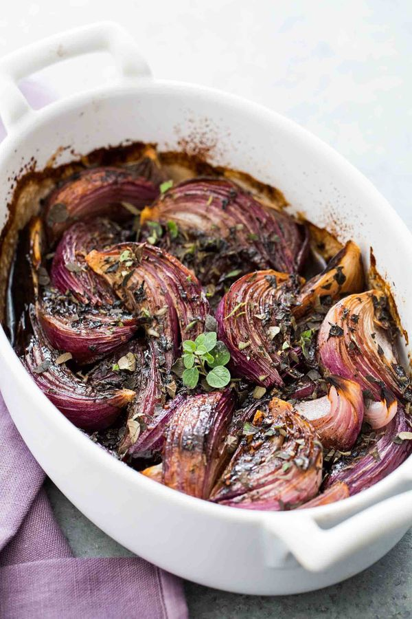 """<strong>Get the <a href=""""http://www.simplyrecipes.com/recipes/balsamic_glazed_red_onions/"""" target=""""_blank"""">Balsamic Glazed Re"""