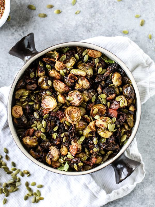 """<strong>Get the <a href=""""http://www.howsweeteats.com/2016/11/mustard-roasted-brussels-bacon/"""" target=""""_blank"""">Mustard Roasted"""