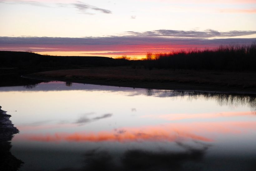 Sunset on the Cannon Ball River as we pulled out of camp last night.