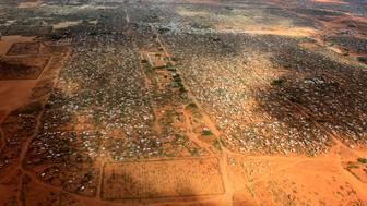 An aerial view shows makeshift shelters at the Dagahaley camp in Dadaab, near the Kenya-Somalia border in Garissa County, Kenya, April 3, 2011. REUTERS/Thomas Mukoya/File Photo