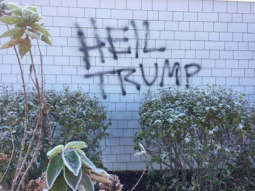 'HEIL TRUMP' spray-painted outside of an Indiana church.