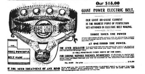 The Heidelberg Electric Belt, advertised in Sears, Roebuck and Company's catalog in 1900.