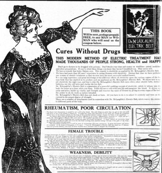 A 1910 ad for Dr. McLaughlin's Electric Belt, published in <em>The Daily Arizona Silver Belt</em>