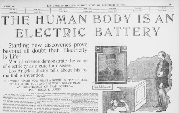 A 1909 advertorial for electric belts in the <em>Los Angeles Herald</em>