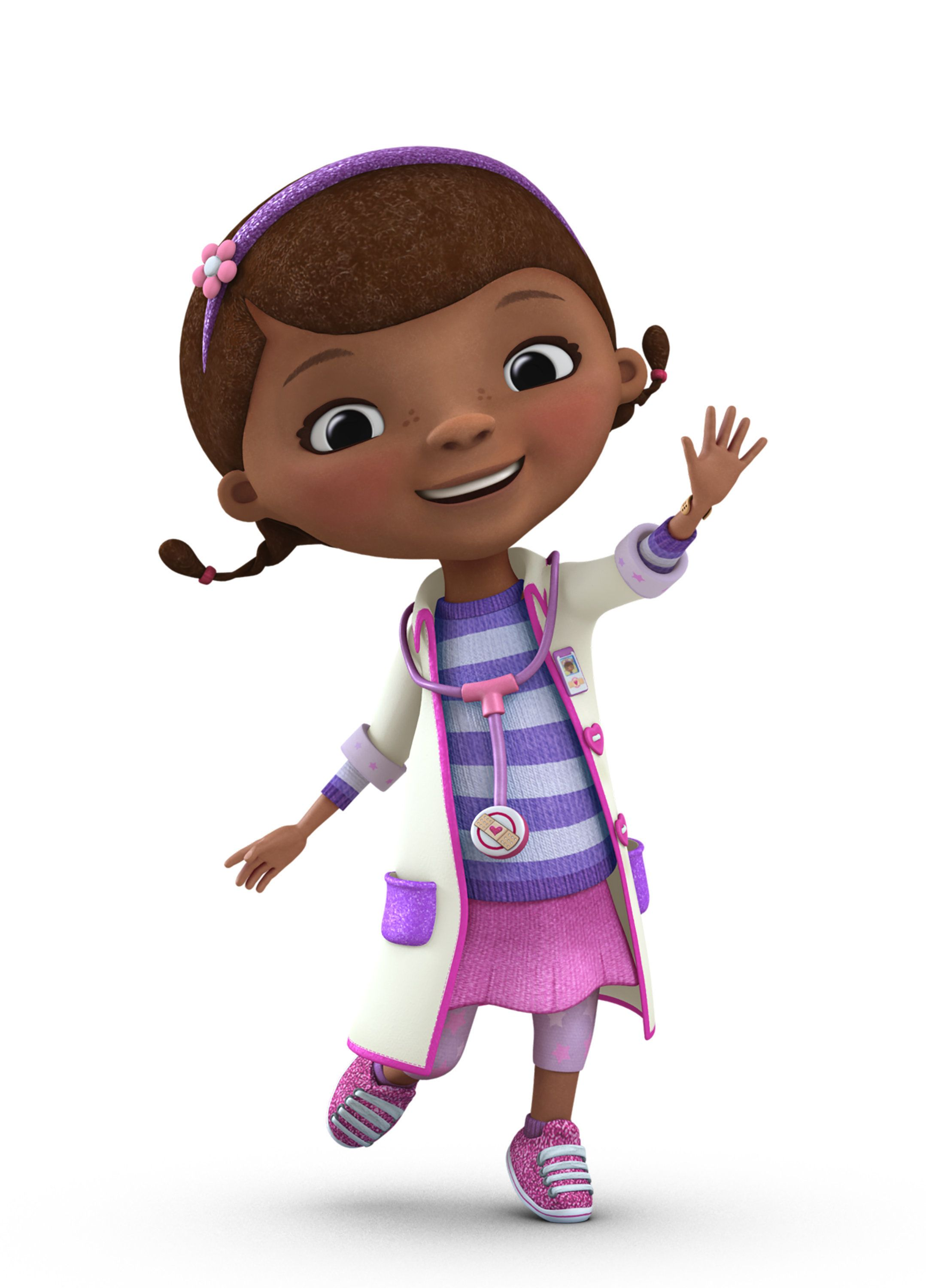 """DOC MCSTUFFINS - Disney Junior's Peabody Award-winning """"Doc McStuffins"""" is an imaginative animated series about a six-year-old girl who communicates with and heals stuffed animals and broken toys out of her backyard playhouse clinic and in the magical McStuffins Toy Hospital. (Disney Junior)"""