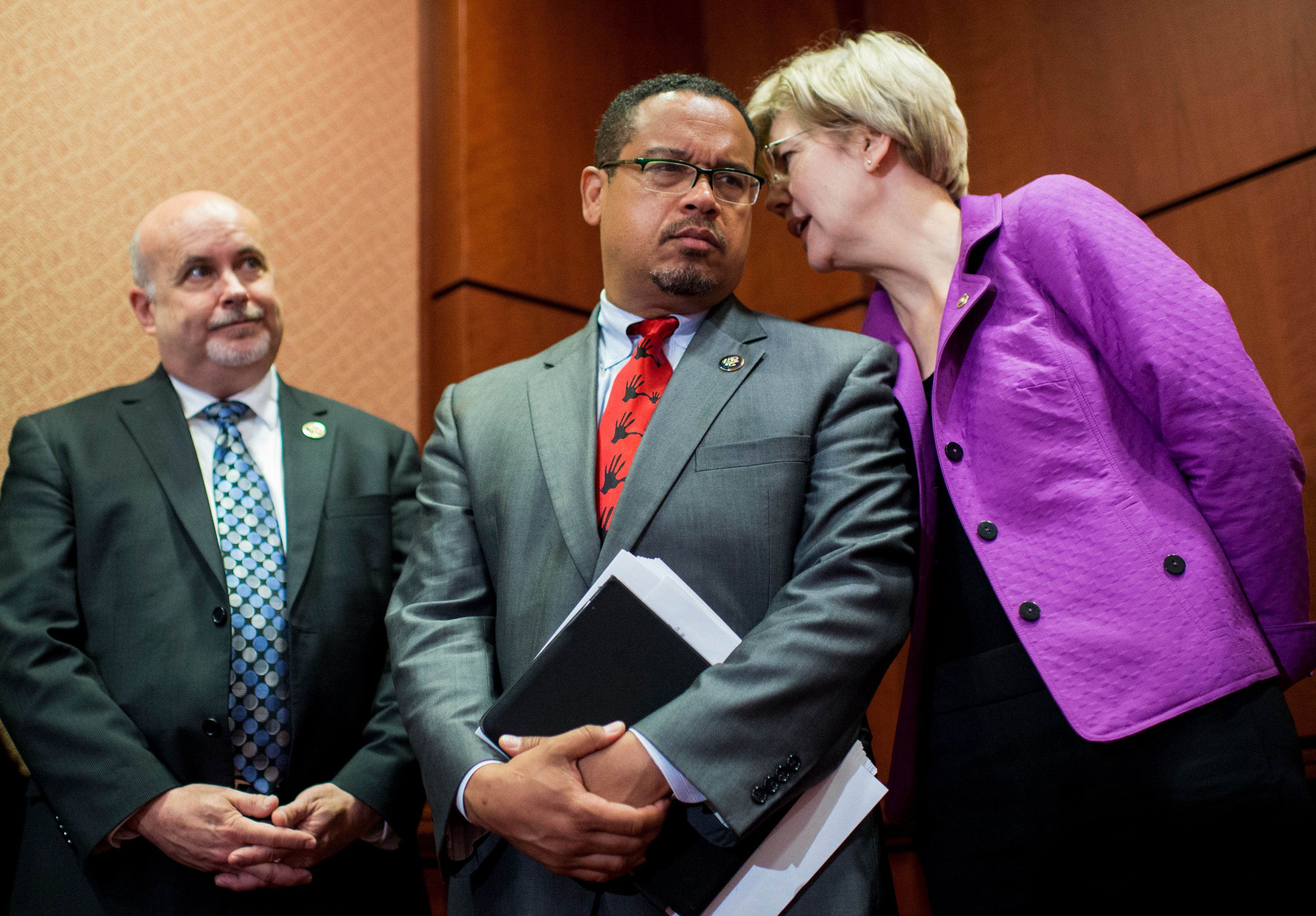Sen. Elizabeth Warren praised Rep. Keith Ellison's efforts to hold Wall Street responsible.