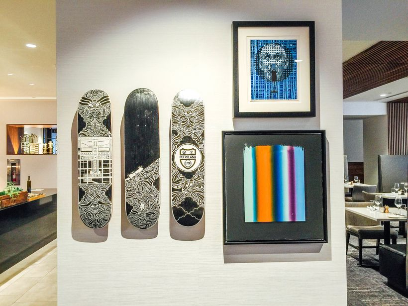 Art pieces at Hilton Cleveland Downtown's The Burnham Restaurant