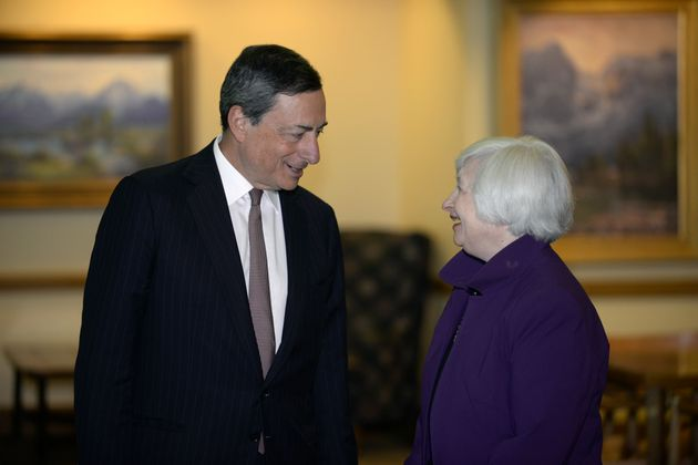 Mario Draghi, European Central Bank president, and Janet Yellen, chair of US Federal