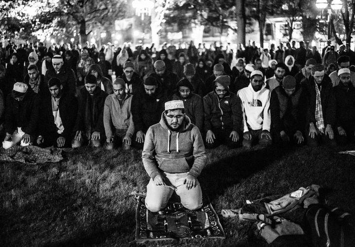 Muslim students at the University of Michigan pray the Ishaa prayer on campus.