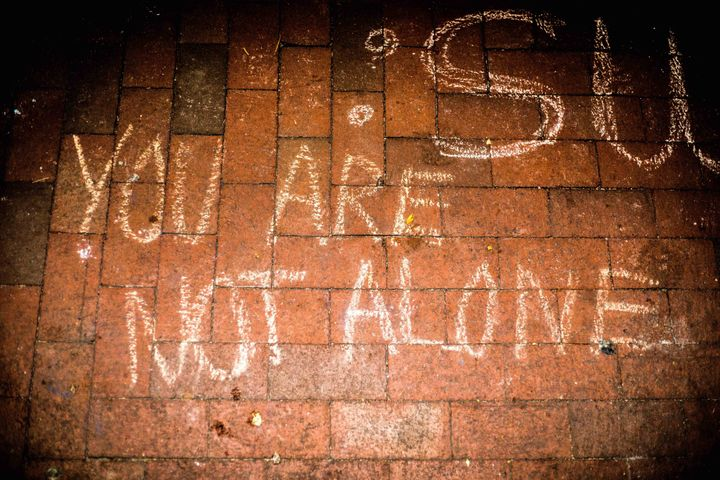 A message scribbled in chalk expresses support for Muslims at the University of Michigan.