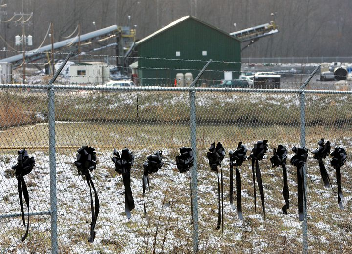 Twelve ribbons line a fence in front of the Sago Mine in Sago, West Virginia, in 2006.