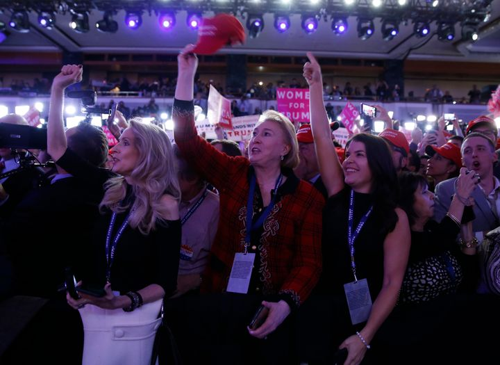 Supporters wait for U.S. Republican presidential nominee Donald Trump at his election night rally in Manhattan, New York, U.S