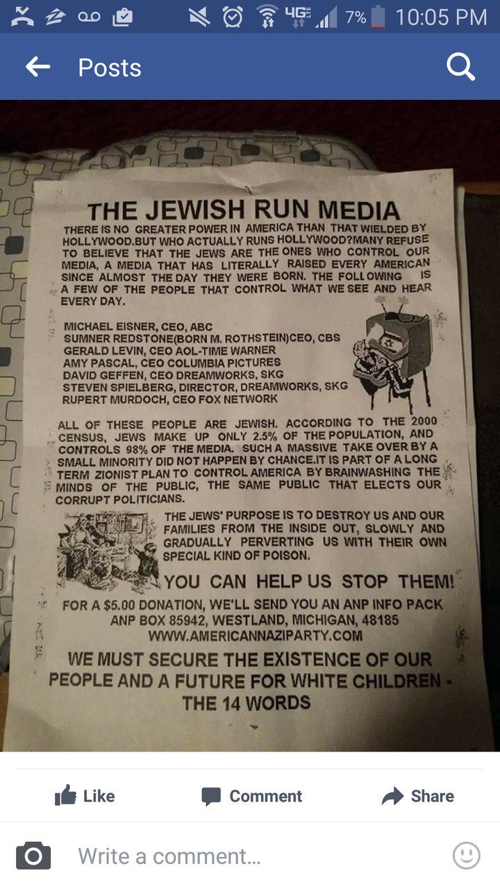 A photograph of one of the reported anti-Semitic leaflets found in Missoula, Montana.