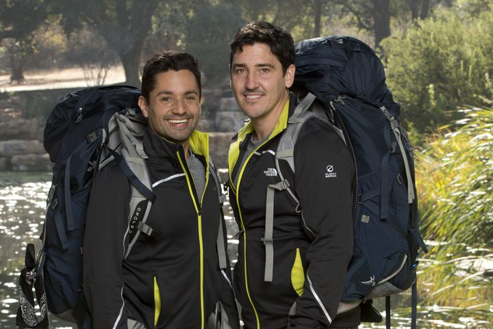 Harley Rodriguez (left) and Jonathan Knight got engaged in Africa earlier this month.